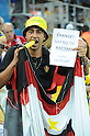 Belgium fans (BEL),<br /> JUNE 26, 2014 - Football / Soccer :<br /> A Belgium fan shows a sign against racism during the FIFA World Cup Brazil 2014 Group H match between South Korea 0-1 Belgium at Arena de Sao Paulo in Sao Paulo, Brazil. (Photo by SONG Seak-In/AFLO)