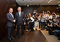 May 14, 2013, Tokyo, Japan - Takashi Okuda, left, outgoing president of Japan's Sharp Corp., and his successor Kozo Takahashi pose for photographers at the conclusion of a news conference in Tokyo on Tuesday, May 14, 2013. Takahashi, currently an executive vice president, will become its president and CEO as of June 25 in a reshuffle to help restore profitability after reporting a record loss of $5.4 billion in the fiscal year that ended in March. (Photo by Natsuki Sakai/AFLO)