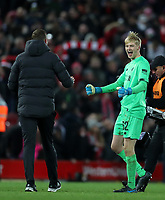 30th October 2019; Anfield, Liverpool, Merseyside, England; English Football League Cup, Carabao Cup, Liverpool versus Arsenal; Caoimhin Kelleher of Liverpool celebrates with Liverpool assistant coach Pepijn Lijnders  - Strictly Editorial Use Only. No use with unauthorized audio, video, data, fixture lists, club/league logos or 'live' services. Online in-match use limited to 120 images, no video emulation. No use in betting, games or single club/league/player publications
