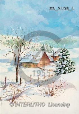 Interlitho, CHRISTMAS LANDSCAPE, paintings, winter landscape(KL2106/1,#XL#) Landschaften, Weihnachten, paisajes, Navidad, illustrations, pinturas
