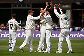 June 12th 2017, Trafalgar Road Ground, Southport, England; Specsavers County Championship Division One; Day Four; Lancashire versus Middlesex; Ryan McLaren is congratulated by his team mates after taking his second wicket of the day having Dawid Malan caught behind by Alex Davies as Middlesex fall to 180-8; Middlesex were 27 runs ahead at the start of the day with four second innings wickets remaining