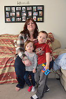 Nikky Arsenault and her children Emma Clarke,  two and a half and Vann, three and a half.