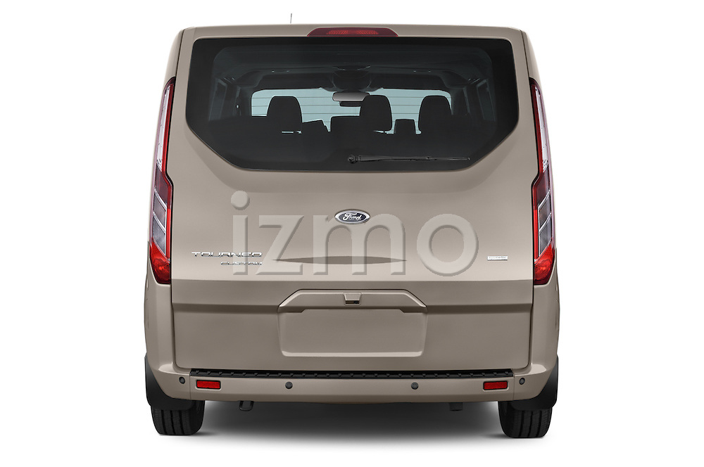 Straight rear view of a 2013 Ford TOURNEO CUSTOM TITANIUM 5 Door Combi Rear View  stock images