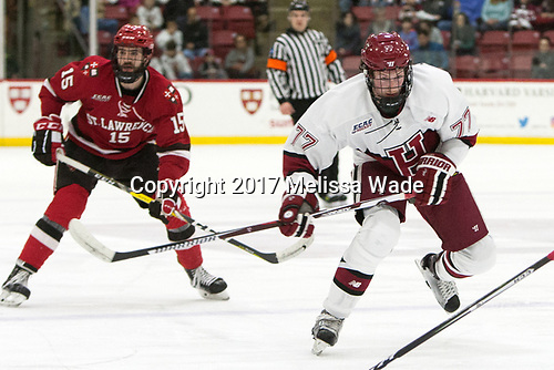 (Purmal) Lewis Zerter-Gossage (Harvard - 77) - The Harvard University Crimson defeated the St. Lawrence University Saints 6-3 (EN) to clinch the ECAC playoffs first seed and a share in the regular season championship on senior night, Saturday, February 25, 2017, at Bright-Landry Hockey Center in Boston, Massachusetts.