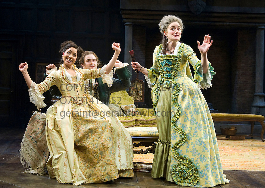 She Stoops To Conquer by Oliver Goldsmith directed by Jamie Lloyd. With  Sophie Thompson as Mrs Hardcastle, Cush Jumbo as Constance Neville, David Flynn as Tony Lumpkin. Opens at The Olivier Theatre at The National Theatre  on 31/1/12 . CREDIT Geraint Lewis