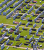 Aerial view of a cemetary.
