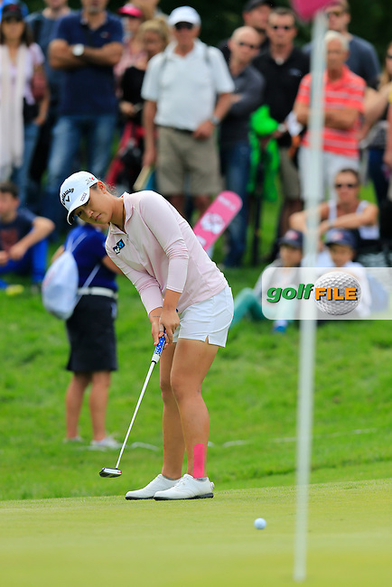 Lydia Ko (NZL) takes her putt on the 14th green during Sunday's Final Round of the LPGA 2015 Evian Championship, held at the Evian Resort Golf Club, Evian les Bains, France. 13th September 2015.<br /> Picture Eoin Clarke | Golffile
