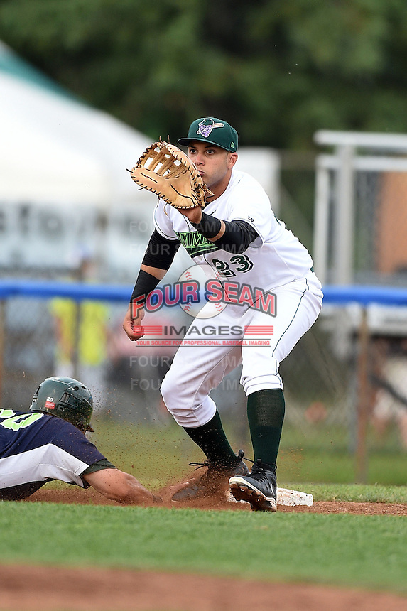 Jamestown Jammers first baseman Kevin Ross (23) waits for a pickoff attempt throw during a game against the Vermont Lake Monsters on July 12, 2014 at Russell Diethrick Park in Jamestown, New York.  Jamestown defeated Vermont 3-2.  (Mike Janes/Four Seam Images)