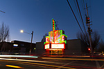 The neon sign at the Laurelhurst Theater in Portland, Oregon
