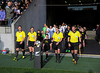 The match officials lead the teams out for the international women's football match between the New Zealand Football Ferns and Japan at Westpac Stadium in Wellington, New Zealand on Sunday, 10 May 2018. Photo: Dave Lintott / lintottphoto.co.nz