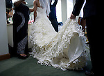 The train on Sanya Richards wedding dress was held as she was styled before her wedding to Aaron Ross, of the New York Giants at the Hyde Park Baptist Church in Austin, Texas on Friday, February 26, 2010. The couple met while participating in the athletics programs at the University of Texas...