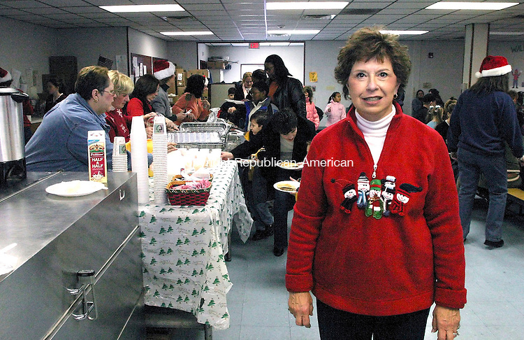 WATERBURY, CT - 09 DECEMBER 2006 - 120906JW04.jpg -- Chase School kindegarten teacher Carol Fitzgerald poses for a photo during the a Breakfast with Santa put on by teachers of the school for the students and families of the approximately 850 students Saturday morning. Jonathan Wilcox Republican-American