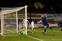 3rd March 2020; Dens Park, Dundee, Scotland; Scottish Championship Football, Dundee FC versus Alloa Athletic; Andrew Nelson of Dundee hits the bar from close range with the keeper beaten