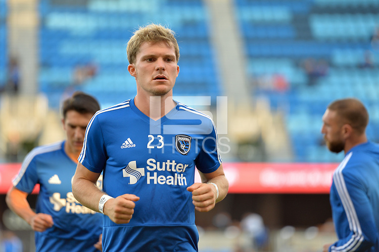 San Jose, CA - Wednesday August 29, 2018: Florian Jungwirth prior to a Major League Soccer (MLS) match between the San Jose Earthquakes and FC Dallas at Avaya Stadium.