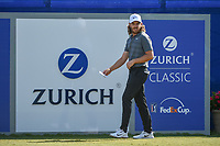 Tommy Fleetwood (ENG) looks over his tee shot on 1 during Round 3 of the Zurich Classic of New Orl, TPC Louisiana, Avondale, Louisiana, USA. 4/28/2018.<br /> Picture: Golffile | Ken Murray<br /> <br /> <br /> All photo usage must carry mandatory copyright credit (&copy; Golffile | Ken Murray)
