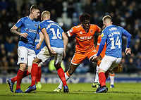 Blackpool's Armand Gnanduillet competing with Portsmouth's Dion Donohue, Jack Whatmough andJoe Mason<br /> <br /> Photographer Andrew Kearns/CameraSport<br /> <br /> The EFL Sky Bet League One - Portsmouth v Blackpool - Saturday 12th January 2019 - Fratton Park - Portsmouth<br /> <br /> World Copyright &copy; 2019 CameraSport. All rights reserved. 43 Linden Ave. Countesthorpe. Leicester. England. LE8 5PG - Tel: +44 (0) 116 277 4147 - admin@camerasport.com - www.camerasport.com