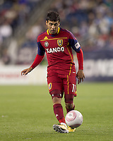 Real Salt Lake midfielder Javier Morales (11) passes the ball. Real Salt Lake defeated the New England Revolution, 2-1, at Gillette Stadium on October 2, 2010.