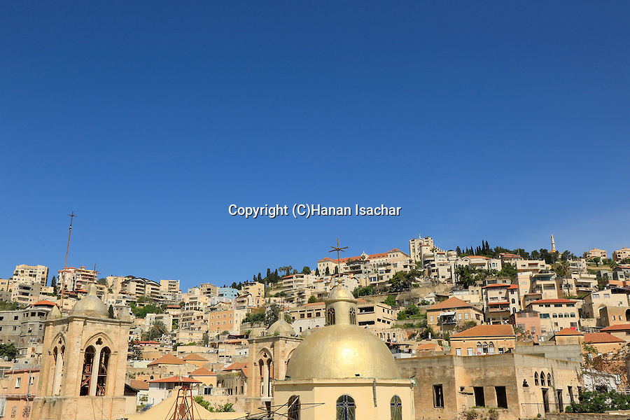 Israel, Nazareth, the dome of the Greek Catholic Church as seen from Mary of Nazareth International Center