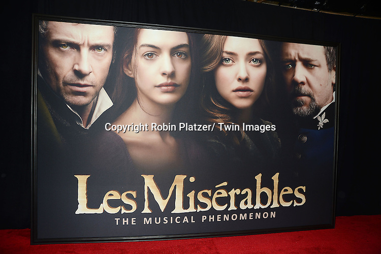 "The poster attends the American Premiere of ""Les Miserables"" on December 10, 2012 at the Ziegfeld Theatre in New York City. The movie stars Hugh Jackman, Anne Hathaway, Amanda Seyfried, Eddie Redmayne, Russell Crowe, Samantha Barks, Isabelle Allen and Sacha Baron Cohen."