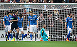 Alan Mannus on his knees after Jamie Walker reacting quicker and knocked Osman Sow's penalty save rebound in the net<br /> Picture by Graeme Hart.<br /> Copyright Perthshire Picture Agency<br /> Tel: 01738 623350  Mobile: 07990 594431