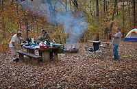 Camping at Richland Creek in the Ozark National Forest in Fall.