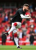 1st October 2017, Emirates Stadium, London, England; EPL Premier League Football, Arsenal versus Brighton; Olivier Giroud of Arsenal warms up before kick off