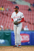 Louisville Bats starting pitcher Amir Garrett (25) gets ready to deliver a pitch during a game against the Buffalo Bisons on June 22, 2016 at Coca-Cola Field in Buffalo, New York.  Buffalo defeated Louisville 8-1.  (Mike Janes/Four Seam Images)