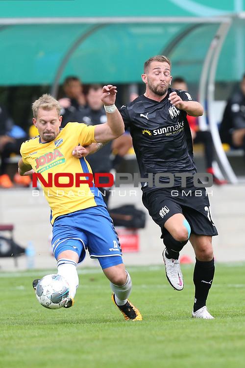 12.09.2020, JODA Sportpark, Todesfelde, GER, DFB-Pokal Runde1 SV Todesfelde vs. VfL Osnabrueck <br /> <br /> DFB REGULATIONS PROHIBIT ANY USE OF PHOTOGRAPHS AS IMAGE SEQUENCES AND/OR QUASI-VIDEO.<br /> <br /> im Bild / picture shows<br /> Christian Rave (SV Todesfelde) im Zweikampf gegen Marc Heider (VfL Osnabrueck)<br /> <br /> <br /> <br /> Foto © nordphoto / Tauchnitz
