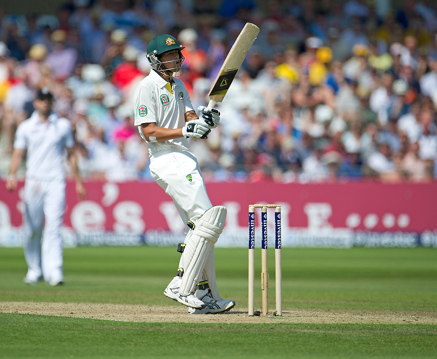 Australia's Ashton Agar bats away a bouncer bowled by England's Stuart Broad<br /> <br />  (Photo by Stephen White/CameraSport) <br /> <br /> International Cricket - First Investec Ashes Test Match - England v Australia - Day 2 - Thursday 11th July 2013 - Trent Bridge - Nottingham<br /> <br /> &copy; CameraSport - 43 Linden Ave. Countesthorpe. Leicester. England. LE8 5PG - Tel: +44 (0) 116 277 4147 - admin@camerasport.com - www.camerasport.com