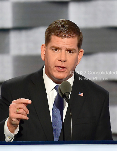Mayor Marty Walsh (Democrat of Boston, Massachusetts) makes remarks at the 2016 Democratic National Convention at the Wells Fargo Center in Philadelphia, Pennsylvania on Monday, July 25, 2016.<br /> Credit: Ron Sachs / CNP<br /> (RESTRICTION: NO New York or New Jersey Newspapers or newspapers within a 75 mile radius of New York City)