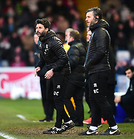 Lincoln City manager Danny Cowley, left, and Lincoln City's assistant manager Nicky Cowley shouts instructions to their team from the technical area<br /> <br /> Photographer Andrew Vaughan/CameraSport<br /> <br /> The EFL Sky Bet League Two - Lincoln City v Northampton Town - Saturday 9th February 2019 - Sincil Bank - Lincoln<br /> <br /> World Copyright &copy; 2019 CameraSport. All rights reserved. 43 Linden Ave. Countesthorpe. Leicester. England. LE8 5PG - Tel: +44 (0) 116 277 4147 - admin@camerasport.com - www.camerasport.com