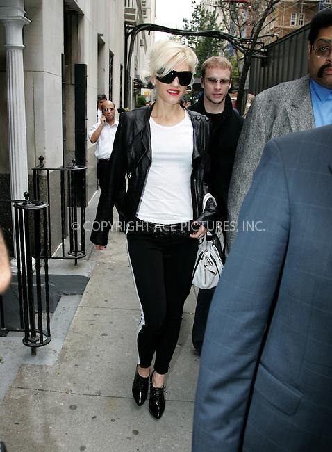 WWW.ACEPIXS.COM . . . . . ....October 23 2007, New York City....Recording artist Gwen Stefani leaving her midtown Manhattan hotel....Please byline: DAVID MURPHY - ACEPIXS.COM.. . . . . . ..Ace Pictures, Inc:  ..(646) 769 0430..e-mail: info@acepixs.com..web: http://www.acepixs.com