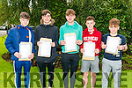 L-R Lee Downing, Evan Johnes, Roan Delaney, Gary Cronin and Jack Enright from St Brendan's College, Killarney pictured after collecting their Junior Leaving Cert results last Wednesday morning.