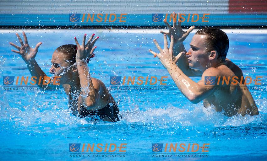 RUS Russia KALANCHA Mikhaela MALTSEV Aleksandr silver medal<br /> Synchronised swimming , Synchro<br /> mixed duet tecnhical final<br /> 17/07/2017 <br /> XVII FINA World Championships Aquatics<br /> City Park - Varosliget Lake<br /> Photo @ Giorgio Perottino/Deepbluemedia/Insidefoto