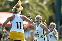 Stanford, Ca - Sunday, August 30, 2015.  Cal Field Hockey competes against Bryant at the Varsity Turf in Stanford, California.  Cal won, 7-2.
