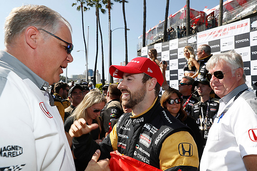 2017 Verizon IndyCar Series<br /> Toyota Grand Prix of Long Beach<br /> Streets of Long Beach, CA USA<br /> Sunday 9 April 2017<br /> James Hinchcliffe, podium, Art StCyr<br /> World Copyright: Michael L. Levitt<br /> LAT Images