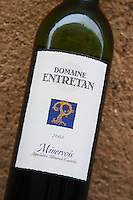 Domaine Entretan, J-C and D Plantade in Roubia. Minervois. Languedoc. France. Europe. Bottle.
