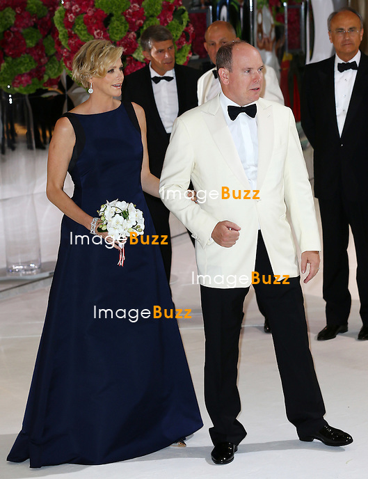 NO TABLOID Princess Charlene of Monaco and Prince Albert II of Monaco attend 66th Monaco Red Cross Ball Gala at Sporting Monte-Carlo on August 1, 2014 in Monte-Carlo, Monaco.