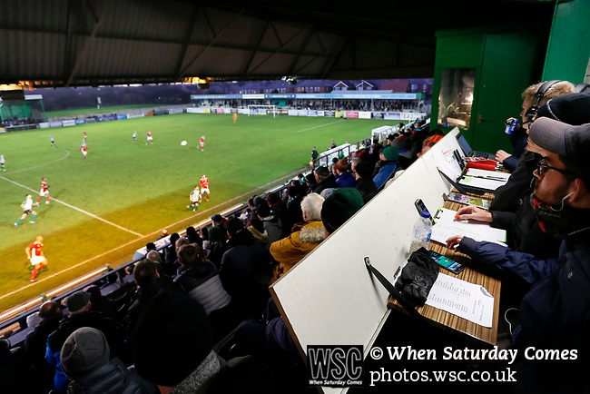 The media watching the game from the Port of Blyth stand. Blyth Spartans v Brackley Town, 30112019. Croft Park, National League North. Photo by Paul Thompson.