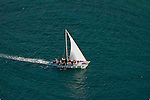 Aerial view of snorkeling Tour boat off St. Croix USVI