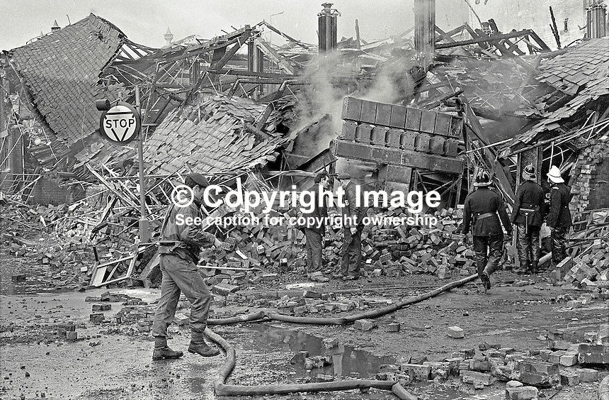 Scene of IRA explosion at W &amp; G Baird Ltd, commercial printers, Belfast, N Ireland. Taken 13th November 1971. 432/71, 197111130432. <br /> <br /> Copyright Image from Victor Patterson, 54 Dorchester Park, Belfast, UK, BT9 6RJ<br /> <br /> t1: +44 28 9066 1296<br /> t2: +44 28 9002 2446<br /> m: +44 7802 353836<br /> <br /> e1: victorpatterson@me.com<br /> e2: victorpatterson@gmail.com<br /> <br /> www.victorpatterson.com<br /> <br /> IMPORTANT: Please see my Terms and Conditions of Use at www.victorpatterson.com