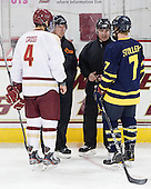 Tommy Cross (BC - 4), Tim Benedetto, Jeff Bunyon, Karl Stollery (Merrimack - 7) - The Boston College Eagles defeated the Merrimack College Warriors 4-2 to give Head Coach Jerry York his 900th collegiate win on Friday, February 17, 2012, at Kelley Rink at Conte Forum in Chestnut Hill, Massachusetts.