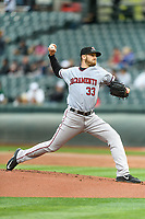 Sacramento River Cats starting pitcher Chris Stratton (33) delivers a pitch to the plate against the Salt Lake Bees in Pacific Coast League action at Smith's Ballpark on April 11, 2017 in Salt Lake City, Utah. The River Cats defeated the Bees 8-7. (Stephen Smith/Four Seam Images)