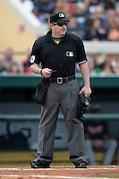 Umpire Marty Foster during a spring training game between the Atlanta Braves and Detroit Tigers on February 27, 2014 at Joker Marchant Stadium in Lakeland, Florida.  Detroit defeated Atlanta 5-2.  (Mike Janes/Four Seam Images)