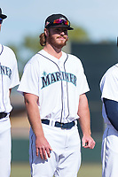 Peoria Javelinas pitcher David McKay (38), of the Seattle Mariners organization, during player introductions before the Arizona Fall League Championship game against the Salt River Rafters at Scottsdale Stadium on November 17, 2018 in Scottsdale, Arizona. Peoria defeated Salt River 3-2 in 10 innings. (Zachary Lucy/Four Seam Images)