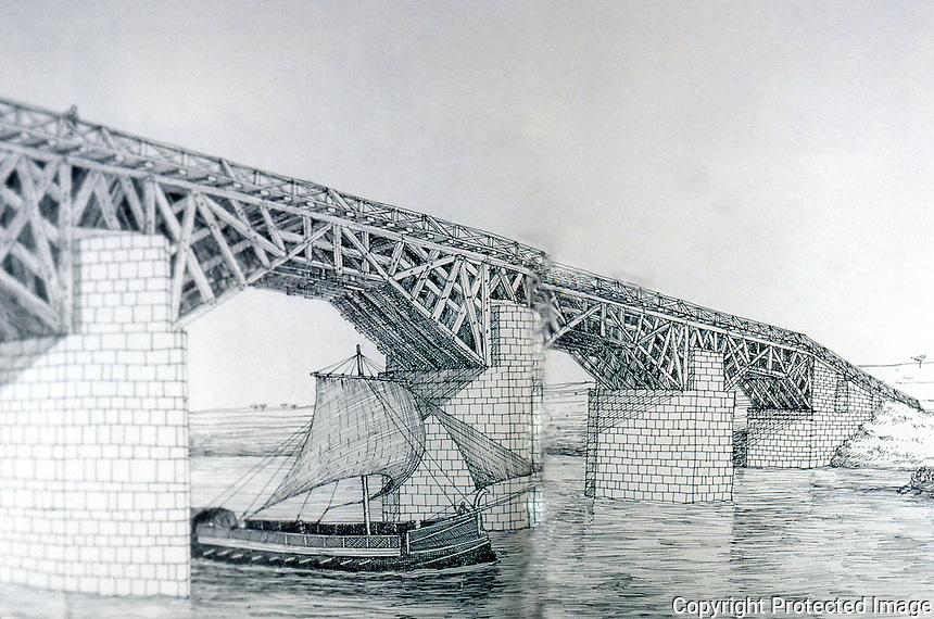Roman Technology:  Roman Bridge with timber superstructure.  Drawing, David Macauley.