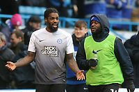 Peterborough United's Anthony Grant walks off the pitch at half-time chatting with one of their substitutes, Junior Morias during Gillingham vs Peterborough United, Sky Bet EFL League 1 Football at the MEMS Priestfield Stadium on 10th February 2018