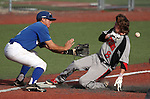 Wildcats' Blake Morin waits for the throw as Colorado Northwestern Community College's Riley Akers slides safely into third at Western Nevada College, in Carson City, Nev., on Friday, March 13, 2015. <br /> Photo by Cathleen Allison/Nevada Photo Source