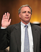 """David A. Vinar, Executive Vice President and Chief Financial Officer, The Goldman Sachs Group, Inc. (GSI), is sworn-in to testify before the United States Senate Permanent Subcommittee on Investigations hearing on """"Wall Street and the Financial Crisis: The Role of Investment Banks"""" using Goldman Sachs as a case study on Tuesday, April 27, 2010. .Credit: Ron Sachs / CNP.(RESTRICTION: NO New York or New Jersey Newspapers or newspapers within a 75 mile radius of New York City)"""