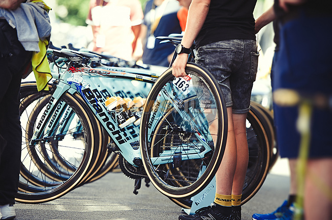 Lotto NL-Jumbo team Bianchi Oltre bikes lined up at the team bus before the start of Stage 5 of the 104th edition of the Tour de France 2017, running 160.5km from Vittel to La Planche des Belles Filles, France. 5th July 2017.<br /> Picture: ASO/Pauline Ballet | Cyclefile<br /> <br /> <br /> All photos usage must carry mandatory copyright credit (&copy; Cyclefile | ASO/Pauline Ballet)